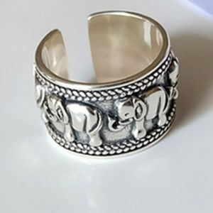 Silver Elephant Ring 925 Stamped Adjustable Wide